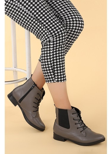 Ayakland Ayakland 387-01 Cilt Baðcıklı Termo Taban Bayan Bot Ayakkabı Gri